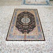 Yilong 4'x6' Handknotted Silk Carpet Home Decor Oriental Antistatic Rug Z473a