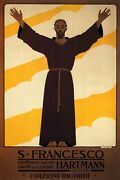 Saint St. Francis Of Assisi Italy Italian Hartmann Vintage Poster Repro Free S/h