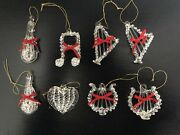 Vintage Spun Glass Ornaments Lot Of 8 Hand Crafted Silvestri -musical