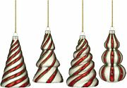 Marquis By Waterford Candy Cane Tree Ornaments, Set Of 4 New In The Box