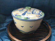 Large Tall Rare Hadley Pottery Caserole Bean Pot Tureen Lid 11and039and039 Caw Pig Exc