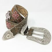Nocona Western Womens Belt Tooled Leather Crystal Crosses Brown/pink/white Small