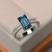 1.35 Ct Real Diamond Blue Topaz Wedding Band Solid 950 Platinum Ring Size 5 6 9