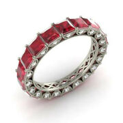 4.40 Ct Natural Diamond Ruby Wedding Band Solid 950 Platinum Ring Size 5 6 7 8