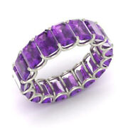 3.40 Ct Real Amethyst Gemstone Anniversary Ring Solid 950 Platinum Band Size 7 8