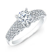 0.97 Ct Round Cut Real Diamond Engagement Ring 14k Solid White Gold Size 5.5 6 7