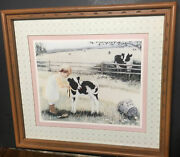 Home Interiors Girl Cow Picture Smith Farm 18x16 Wall Hanging June Chelesa Homco