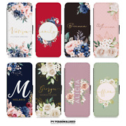 Personalised Flip Case For Apple Iphone 11 Xr 8+ Name Floral Wallet Cover