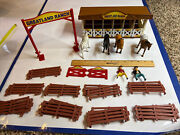 Vintage 1990's Lot Toy Horses With Barn Stable Funrise Greatland Ranch Fence