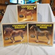 Breyer Vintage Clydesdale Stallion Mare And Foal Nib Picture Boxes Super Rare