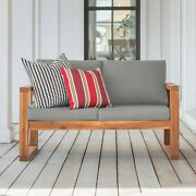 Patio Loveseat Outdoor Porch Garden Bench Rustic Wooden Bench With Cushions