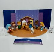 Peanuts Snoopy Charlie Brown Pageant Play Christmas Nativity Figures With Stage