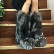 Luxury Womens 100 Real Silver Fox Fur Ankle Snow Boots Outdoor Furry Shoes Size