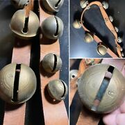 Antique 1930's Graduated Brass Sleigh Bells Leather Neck Strap - Horse Christmas
