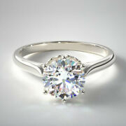 0.75 Ct Real Round Cut Diamond Engagement Ring 14k Solid White Gold Size 5 6 7 8