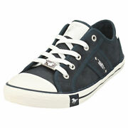Mustang Lace Up Low Top Womens Navy Casual Trainers - 5 Uk