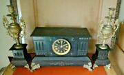 Antique French Chevassu Slate Mantle Clock And Candlesticks Gilded Painted Rare Vg