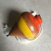 El Salvador Hand Made Wood Spinning Tops Trompo De Madera With Rope Cañamo 07