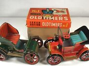 Lot 2 Vintage Modern Toys Lever Action Oldtimers Tin Toys Cars With Original Box