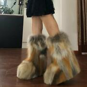 Luxury Womens 100 Real Fox Fur Genuine Leather Ankle Boots Outdoor Shoes Size F