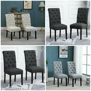 2/4/6 Button Dining Chairs Tufted High Back Fabric Padded Dining Room Kitchen Us