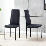 Modern Set Of 2 Pu Leather Dining Room Chair Black Kitchen High Back Home Office