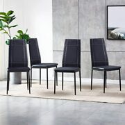 Pu Leather Dining Room Chair Set Of 4 Modern Black Kitchen High Back Home Office