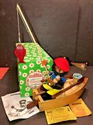 Vtg Steinbach Germany Fisherman W/ Boat Music Box Smoker And Wave Motion Animation