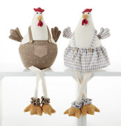 New Country Farmhouse Set 2 Chicken Hen Rooster Doll Dangly Leg Figure 16