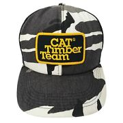 Vintage Cat Timber Team Trucker Hat Snapback Patch Diesel Power Camo Forestry