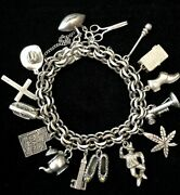 Vintage Heavy Sterling Silver Hope Chest Charm Bracelet 69 Grams 15 Charms