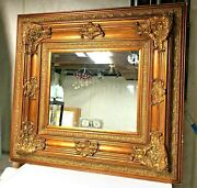 ⭐️large Victorian Style Gilded Wooden Frame 44x40 Beveled Decorative Wall Mirror