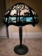 Antique Working 1920and039s Miller Art Nouveau Blue And White Slag Glass Table Lamp 233
