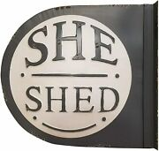 New Farmhouse Vintage Charcoal White She Shed Double Sided Sign Bracket Hanging