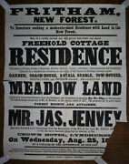 1870s Auction Poster Cottage On The Verge Of Fritham New Forest Hampshire