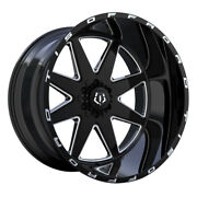 Tis 551bm 22x12 6x135/6x139.7 Et-44 Gloss Blk Milled Accents And Logo Qty Of 4