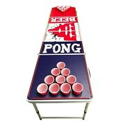 8and039 Beer Pong Portable Folding Game Table Aluminum Led Lights Cup Holder Sink It