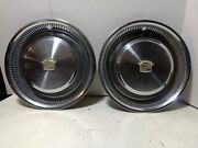 2 1974 1975 1976 Cadillac Fleetwood Seville Hubcaps Wheel Covers Oem
