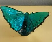 Sale Fenton Art Glass Blue Floral Butterfly Figurine Handpainted By S. Stephens