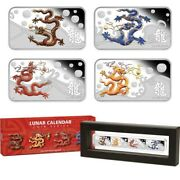 Cook Islands Perth Mint 2012 Year Dragon 4-coin Rectangle 1 Oz Silver Proof Set