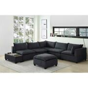 Bowery Hill 7 Piece Sectional Sofa With Usb Storage Console In Dark Gray