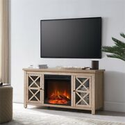 Hennandhart White Oak Tv Stand With Log Fireplace Insert