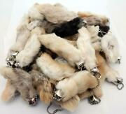 25 Natural Color Lucky Rabbits Foot Keychains New