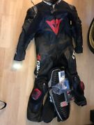 Dainese D Air Size 52 Full Race Leather Suit + Back Protector + Rain Suit Cover