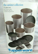 Tupperware Set Of 4 One Touch Canisters Set Silver Satin With Scoops New