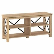 Hennandhart 50 Open Back Tv Stand In White Oak Wood With Metal Black Accents