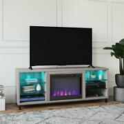 Ameriwood Home Lumina Deluxe Fireplace Tv Stand For Tvs Up To 70 Light Walnut