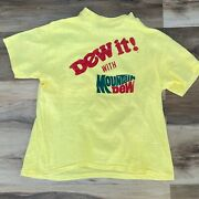 Vintage 1980s Yellow Mountain Dew It T-shirt Hanes Single Stitch Usa Made Small