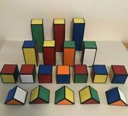 Htf Rubiks Stack And Build Blocks Cube Tollytots Shapes Lot Of 19 Primary Colors