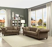 Sofa And Love Seat Living/ Home Furniture 2pc Set Modern Design Brown Linen Fabric